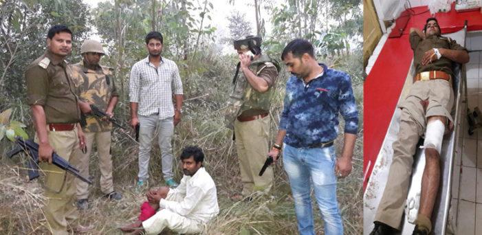 मुठभेड़ में पुलिस कर्मी घायल, संभल जिले का इनामी बदमाश गिरफ्तार